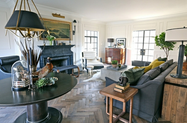 Wohnzimmer Interior Design Ideen Holz Bodenbelag Grau