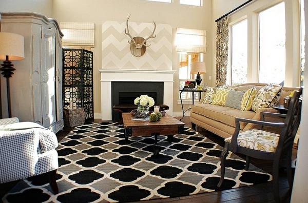 wohnzimmer interior design ideen rustikal