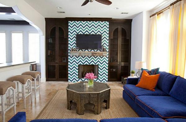 wohnzimmer interior design ideen zigzag muster sofa