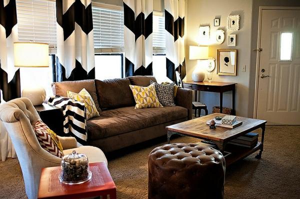 wohnzimmer interior design im eklektischen stil gardinen