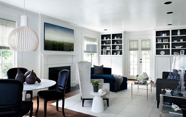 wohnzimmer skandinavish stil weiß regale moderne Beistelltische glanz