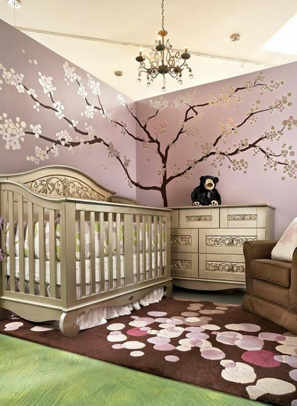 Wandmalerei Kinderzimmer Neutral : zarte wandgestaltung im kinderzimmer mit wandtattoo