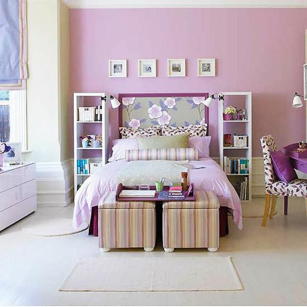 zartes lila im schlafzimmer floral motive dekoration