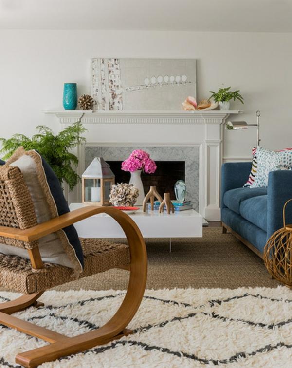 zeitgenössiche interior design ideen wohnzimmer schaukelstuhl kamin