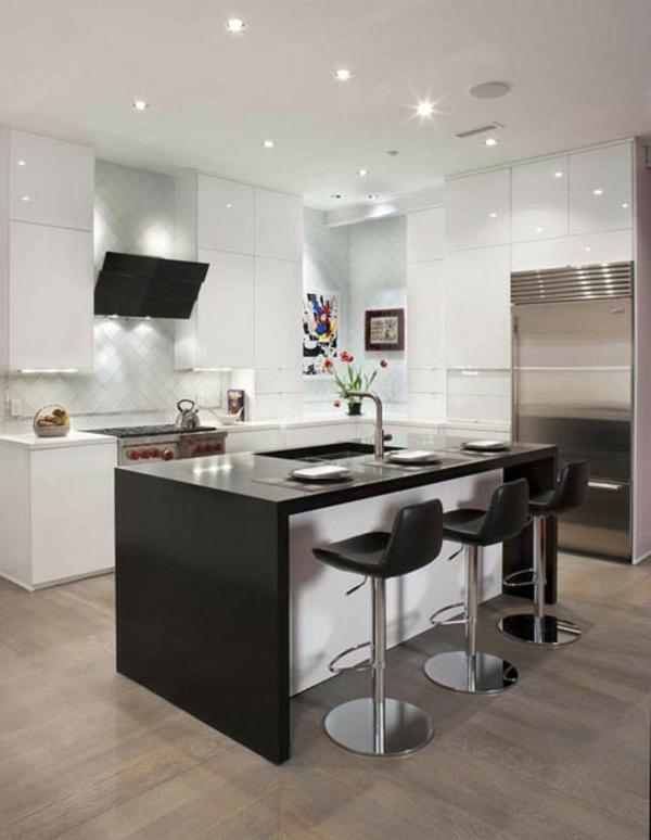 schwarz weiß kücheninsel hocker zeitgenössisch