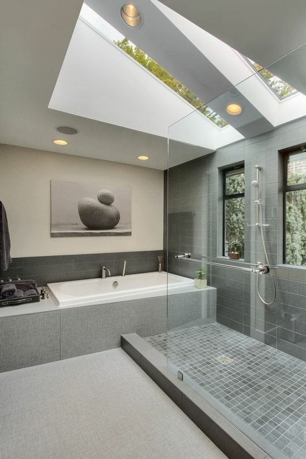 zeitgenössische badezimmergestaltung in grau