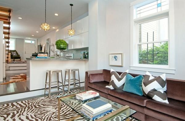 zeitgenössische einrichtungsideen wohnzimmer zigzag muster boden