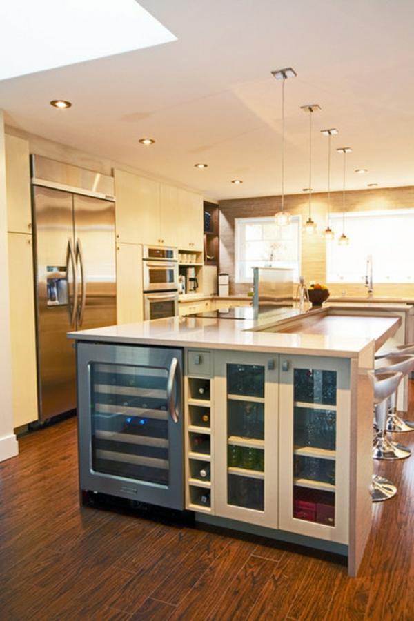 zeitgenössische küche weinlagerung ideen kücheninsel
