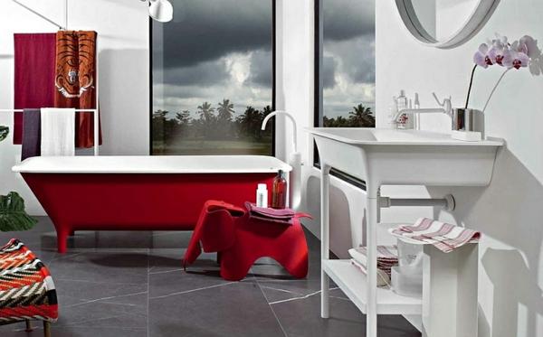 zeitgenössisches badezimmer ideen rote badewannen