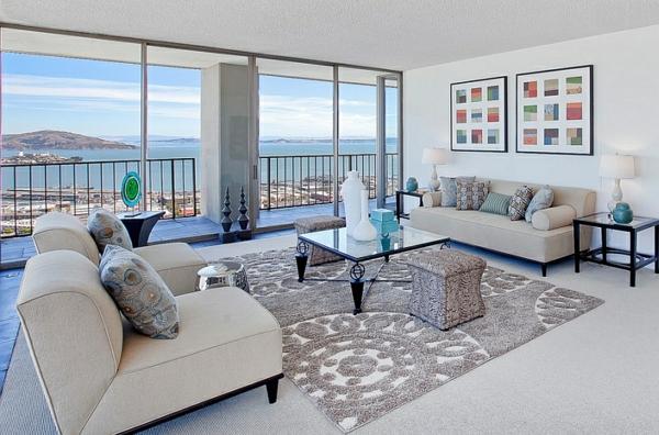 zeitgenössisches wohnzimmer silber farben teppich garten hocker