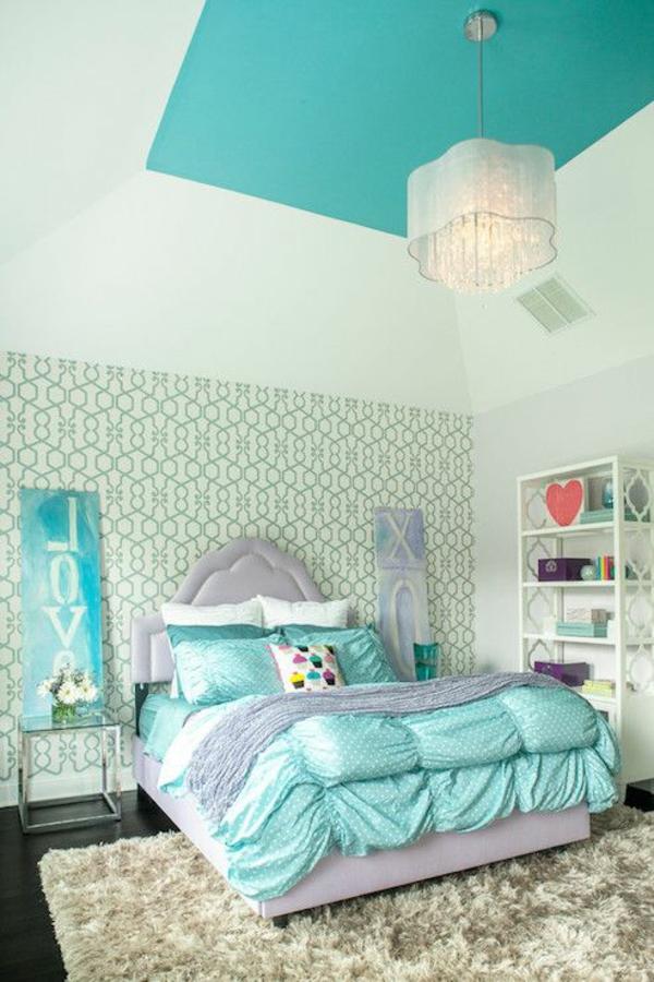 Charmant Zimmergestaltung Jugendzimmer Türkis Wand Decke