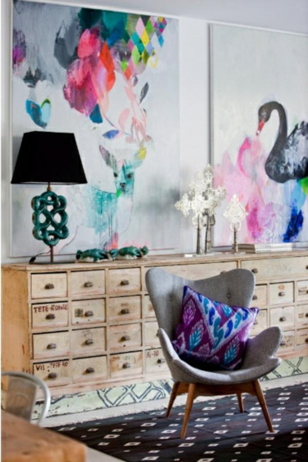 GroB Zimmergestaltung Jugendzimmer Wandfarben Gemälde Zimmergestaltung Ideen ...
