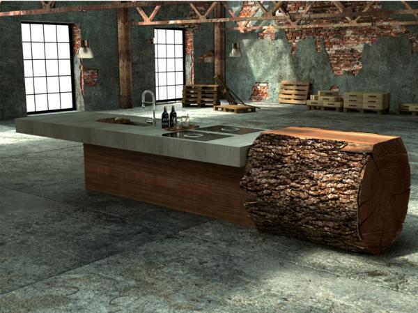 Arbeitsplatte mit Betonoptik küchenarbeitsplatte naturholz fenster