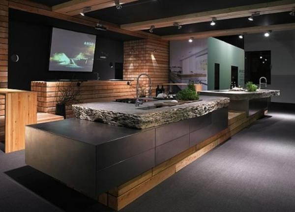 Betonoptik Arbeitsplatte küchenarbeitsplatten küchenplatte dunkel