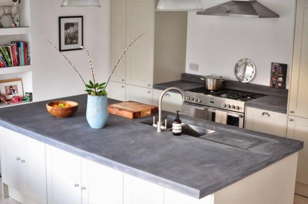Arbeitsplatte mit Betonoptik küchenarbeitsplatten küchenplatte geschirr