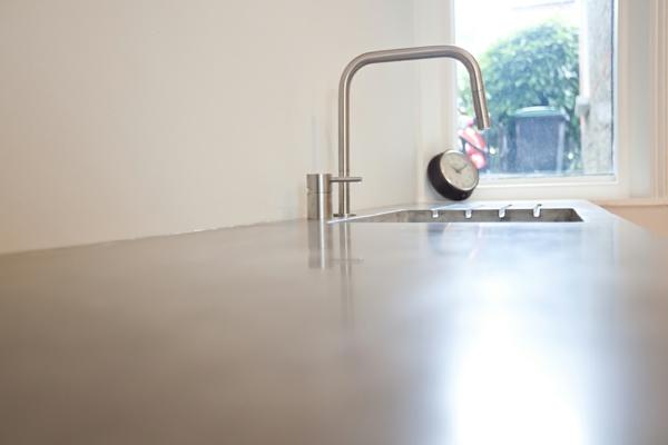 beton oberflächen spüle küche glatt glanzvoll