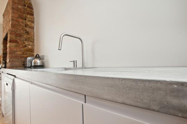 Arbeitsplatte mit Betonoptik küchenarbeitsplatten küchenplatte spüle
