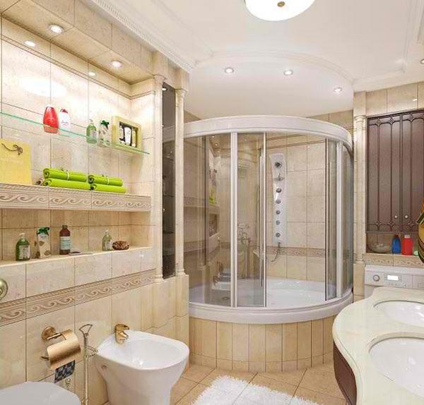 Badezimmer Regale Glas dusche groß wand