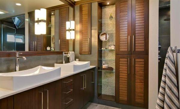 Badezimmer Regale aus Glas holz badezimmermöbel