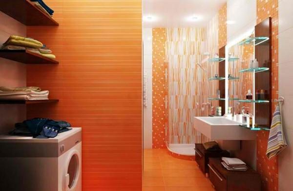 Badezimmer-Regale-aus-Glas-orange-wandgestaltung