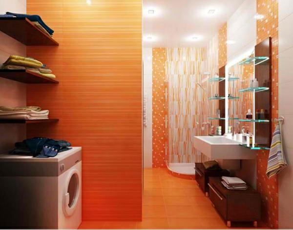 Badezimmer Regale Glas orange wandgestaltung