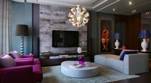 Wohnzimmergestaltung  Beispiele für Wohnzimmereinrichtung - hochmoderne Art Wohnideen
