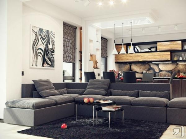 ideen  Wohnzimmereinrichtung wohnzimmergestaltung schwarz