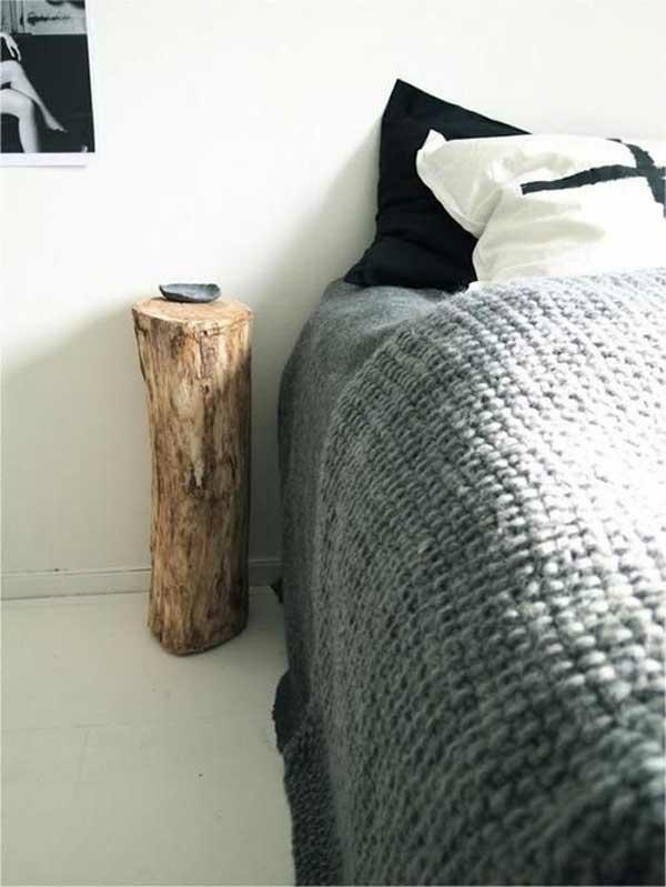 Beistelltisch schlafzimmer Holzblock bett