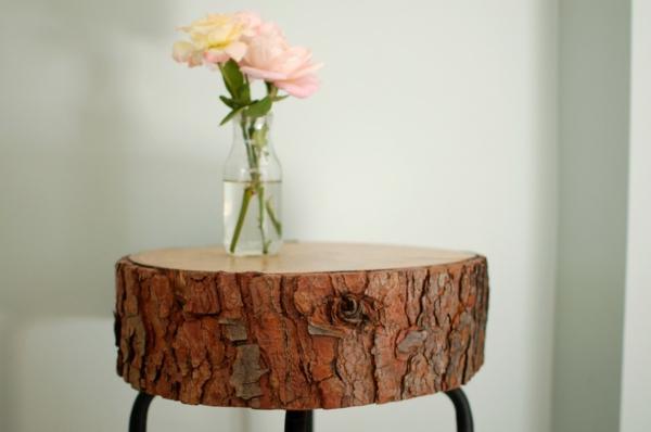 Beistelltisch tichplatte tischbeine Holzblock blumenvasen