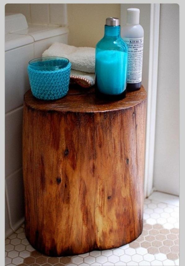 Beistelltisch handtuch utensilien Holzblock lackiert