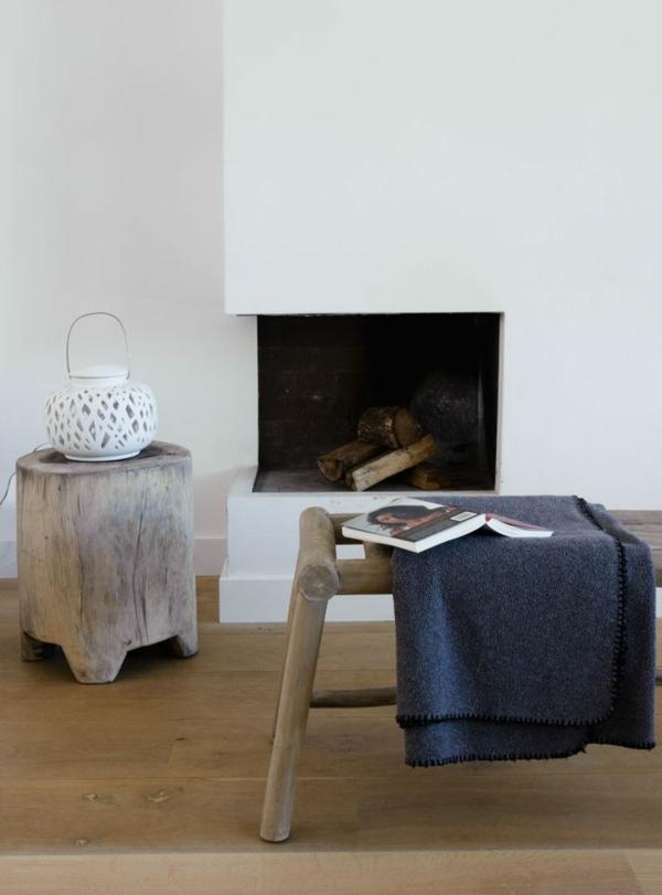 Beistelltisch kamin feuerstelle Holzblock leseecke