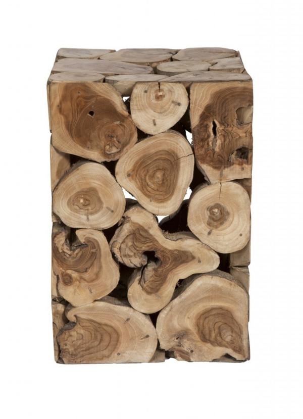 Beistelltisch quadratisch Holzblock quadratisch