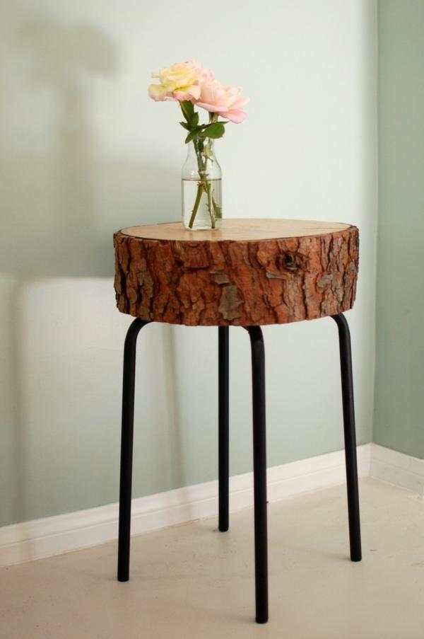 Beistelltisch aus Holzblock tischbeine