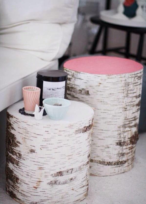 Beistelltisch rosa tischplatte Holzblock weiß textur