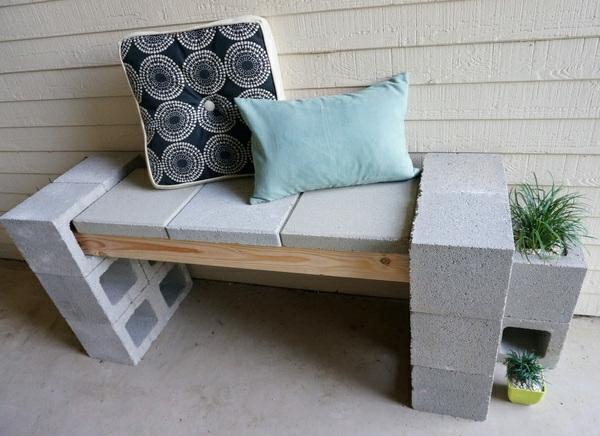 DIY betonstein bank dekokissen