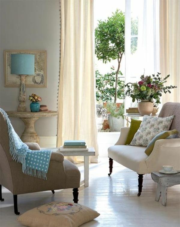 Farbbeispiele fürs Wohnzimmer wandfarben farbgestaltung gardinen