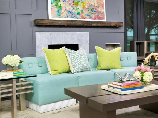 Farbbeispiele fürs Wohnzimmer wandfarben farbgestaltung grün blau