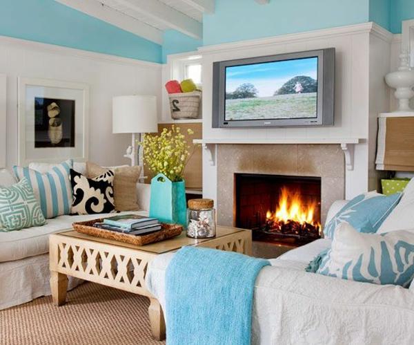 Wohnzimmer wandfarben Farbbeispiele farbgestaltung kamin
