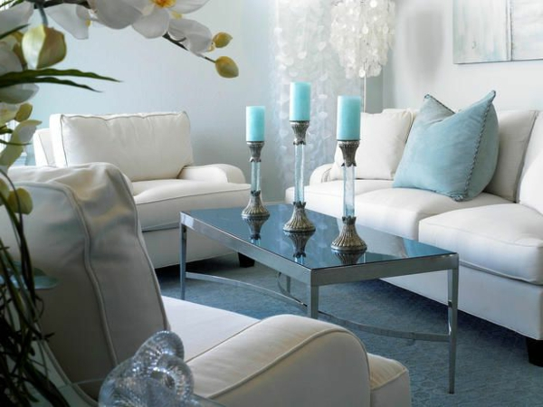 Wohnzimmer wandfarben farbgestaltung kerzen