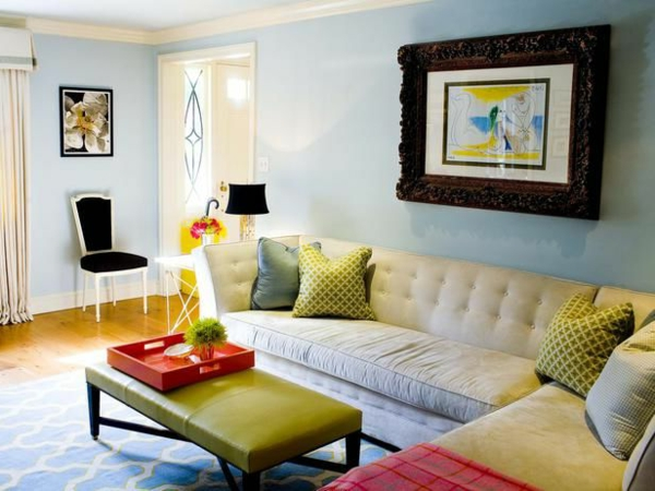 Farbbeispiele fürs wohnzimmer kräftige farbgestaltung zu