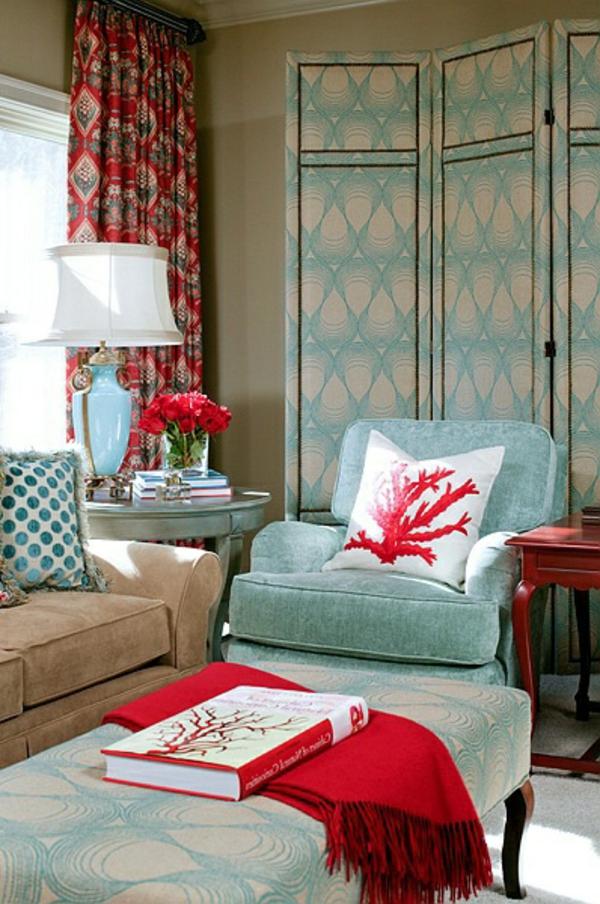 Wohnzimmer wandfarben Farbbeispiele farbgestaltung sessel