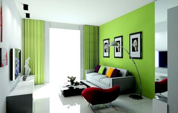 Wände wandgestaltung wohnzimmer gardinen Farbideen