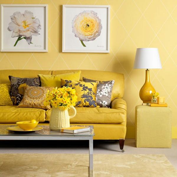 wohnzimmer blau gelb:Farbideen für Wände – gelbe, sonnige Wandgestaltung im Wohnzimmer