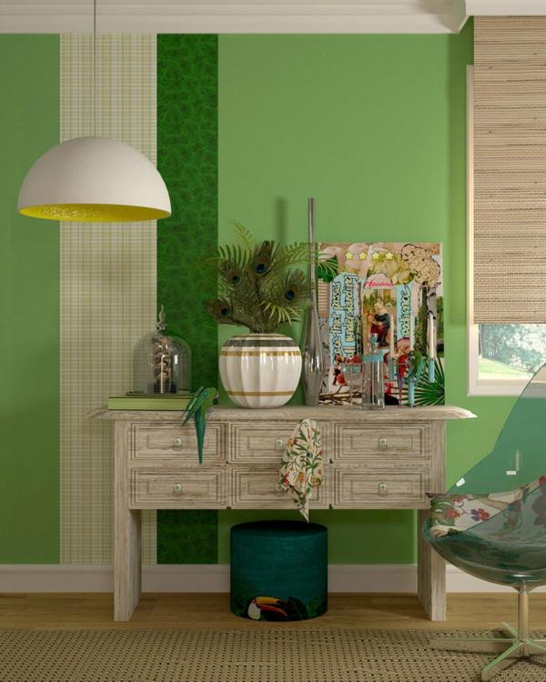 stunning wandgestaltung wohnzimmer grun ideas - sohopenthouse