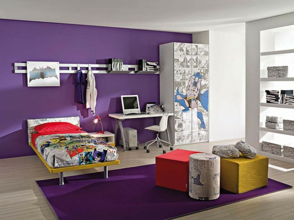 Farbideen bunt Wände wandgestaltung wohnzimmer lila