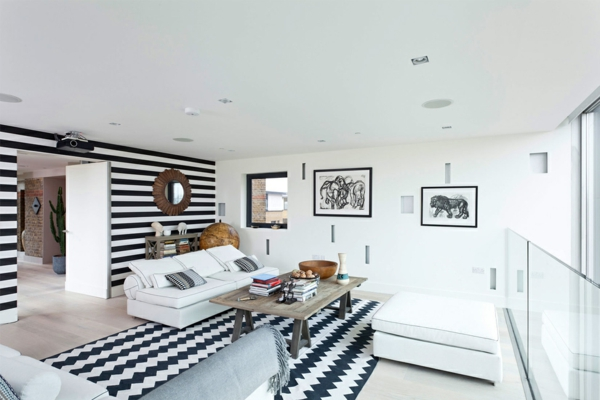 Farbideen für Wände wandgestaltung wohnzimmer monochromatisch