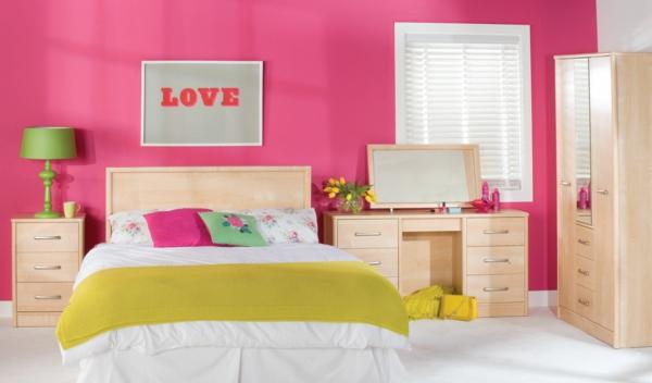 Farbideen mädchen zimmer Wände wandgestaltung wohnzimmer rosa