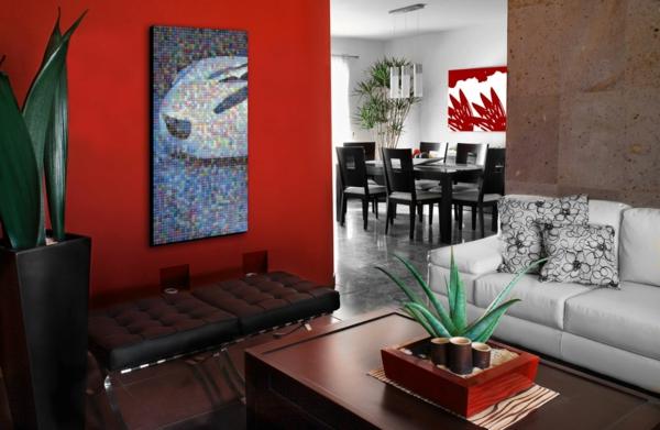 Farbideen dramatisch details Wände wandgestaltung wohnzimmer rot