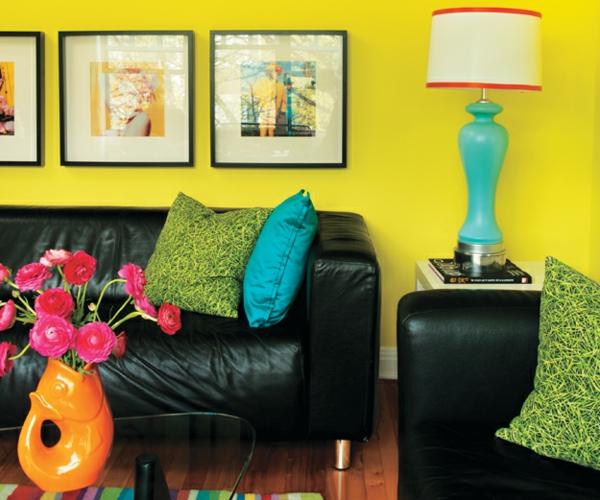 Farbideen leuchtend Wände wandgestaltung wohnzimmer sofa