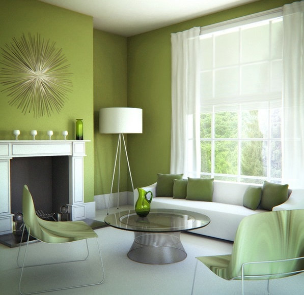 Farbideen dekoartikel Wände wandgestaltung wohnzimmer stehlampe grün